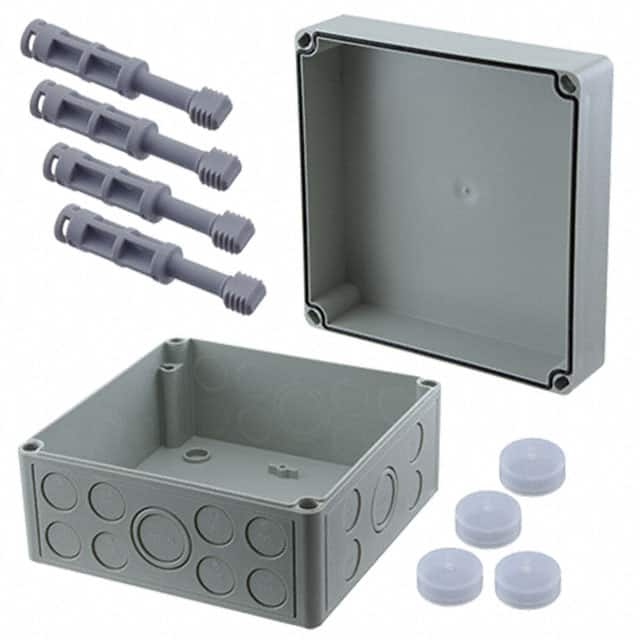 "【115-907】BOX PLASTIC GRAY 7.17""""L X 7.09""""W"